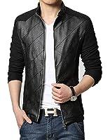 KIWEN Men's PU Leather Collar Jacket Casual Wear