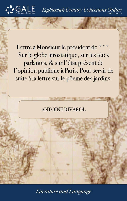 Lettre à Monsieur Le Président De Sur Le Globe