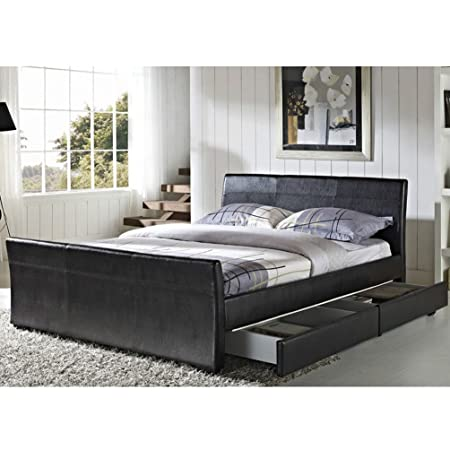 79eebb3bbad Cravog 4 Drawers Faux Leather Storage Sleigh Bed Double King Size Memory  Foam Mattress (King Size with No Mattress