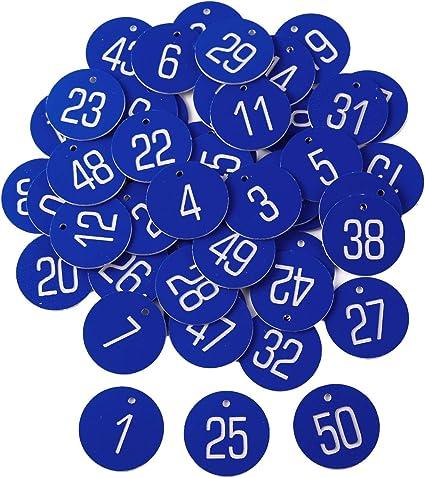 50 x Blau Kennzeichnungsmarken Textmarken Zahlenmarken mit Schlüsselringe
