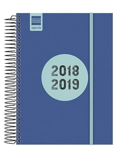 Finocam Espir Label - Agenda 2018-2019 1 día página catalán, 155 x 215 mm, azul cobalto