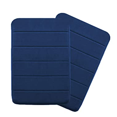 Flamingo P 17 X24  Microfiber Memory Foam Bath Mat with Anti-Skid Bottom Non-Slip Quickly Drying Navy Striped Pattern, Two Pack