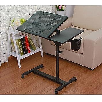 Qisheng Mesa de Escritorio para Ordenador portátil, Altura e inclinación Ajustables con Ruedas giratorias y Rejillas de ventilación Sobre sofá Cama Mesa: ...