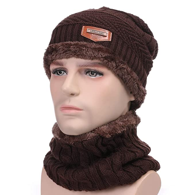 Valpeak Thick Beanie Men   Women Winter Lining Scarf Set (Brown Set ... 3025ed926f4