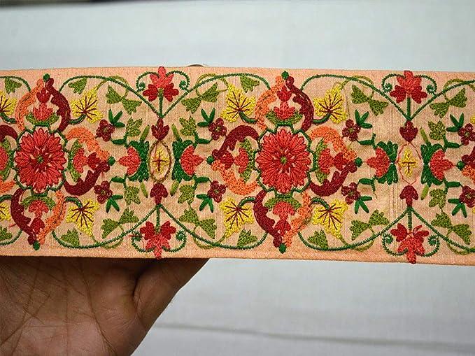 Sewing Embellishment 1 yard Embroidered Trim Floral Trim Sari Border Indian Lace Indian Textile Tapes Decorative Craft Ribbon