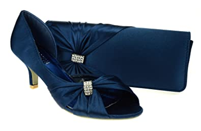 Chic Feet Womens Navy Blue Wedding Party Prom Evening Low Heel ...