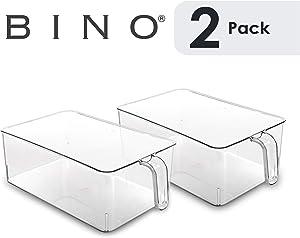 BINO Refrigerator, Freezer, Kitchen Pantry Cabinet Organizer Plastic Bin with Handle, Clear Plastic Storage Bins Refrigerator Organizer Bins Fridge Organizer Pantry Organizer Pantry (Large- 2 PACK)