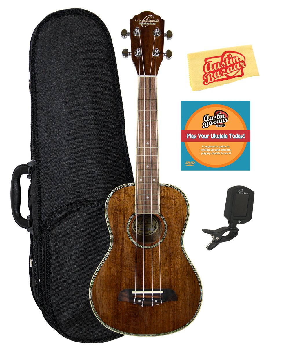 Oscar Schmidt OU5 Koa Concert Ukulele Bundle with Hard Case, Tuner, Austin Bazaar Instructional DVD, and Polishing Cloth