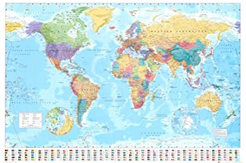Amazon World Map Poster 36 x 24in with Poster Hanger Small