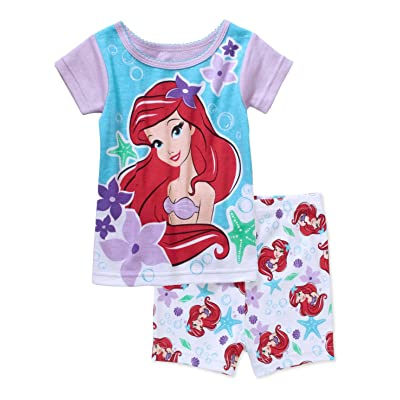 Disney Little Mermaid Princess Ariel Baby Girls 2 Piece Shirt & Shorts Pajama Set