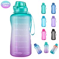 4AMinLA Motivational Water Bottle Gallon Jug with Straw and Time Marker Large Capacity...