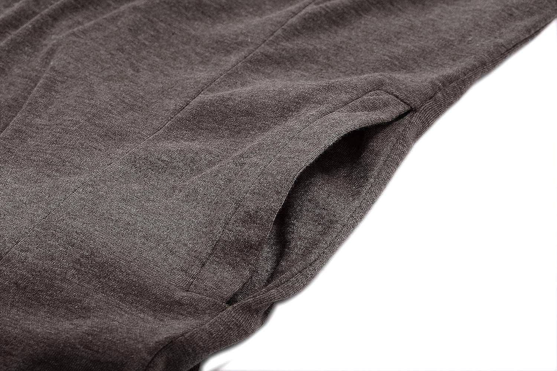 FISOUL Uomo Manica Lunga Frontale Aperta Maglione Palangaro Leggero Drappeggiato Cardigan con Cappuccio e Tasche