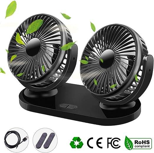 Qisiewell Ventilador de coche con 3 velocidades doble ventilador rango de rotación de 360°: Amazon.es: Hogar