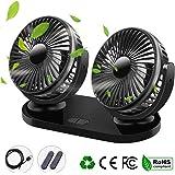 Qisiewell Ventilador de coche con 3 velocidades doble ventilador rango de rotación de 360°