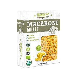 Big Green Organic Food- Organic Millet Macaroni, 8.8oz, Gluten-Free, Non-GMO, Vegan (1)