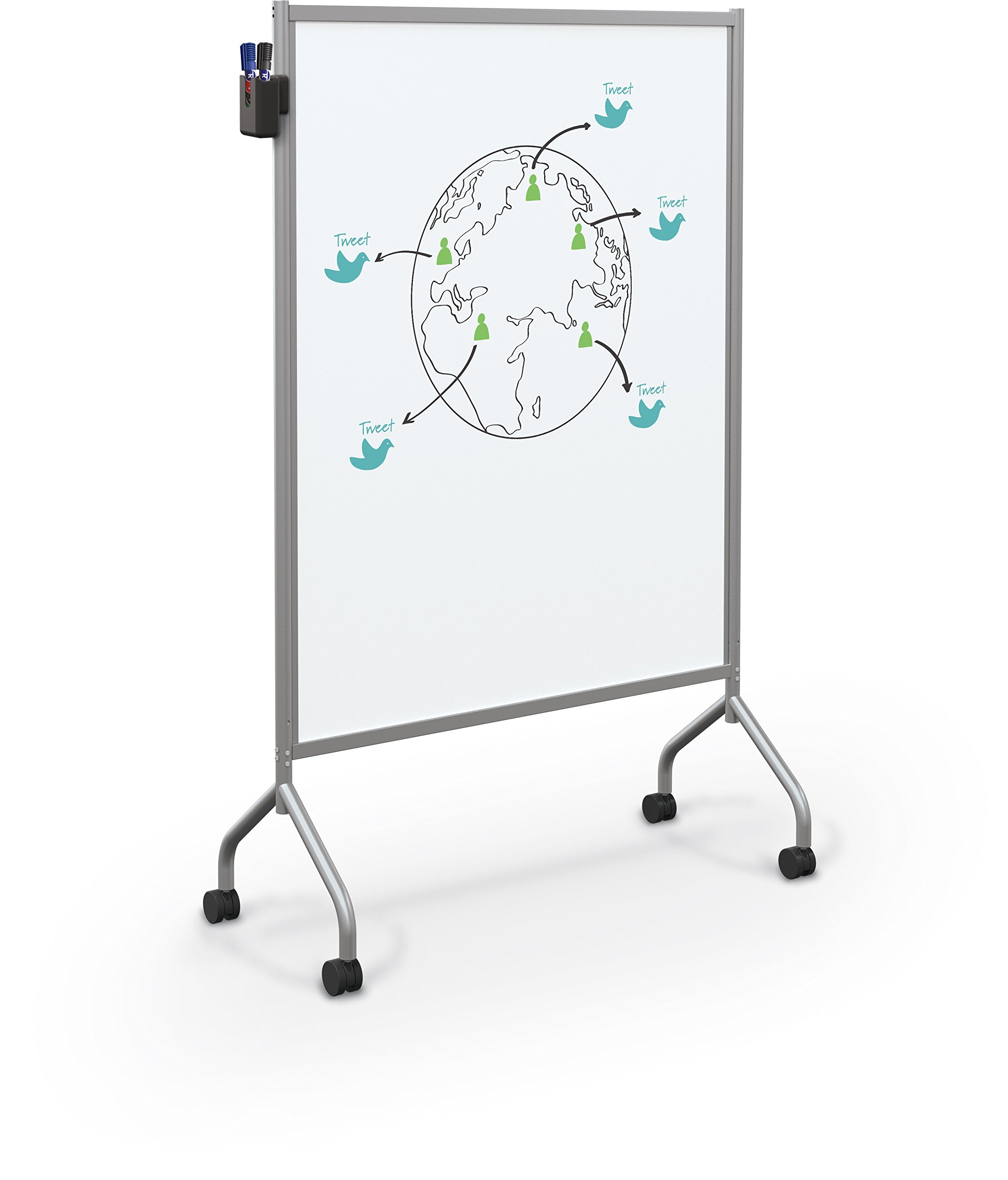 Balt Essentials Double Sided Mobile Whiteboard Easel, Platinum Frame, 71.75'' x 42'' x 21'' (62541)