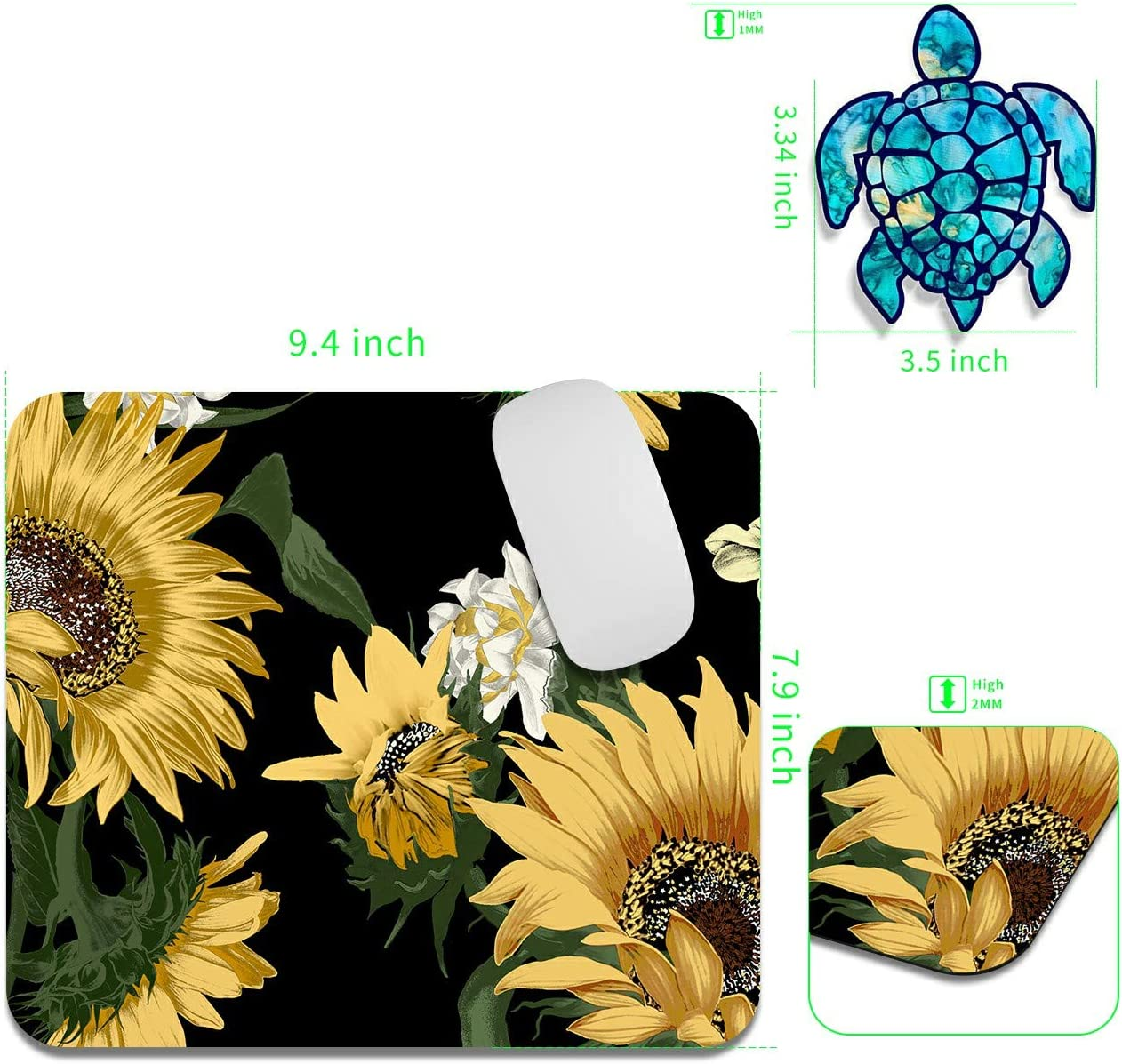 Gaming Mouse Pad Mat Sunflower Mousepads Gaming with Cute Stickers Non-Slip Rubber Base Square Mouse Pads for Laptop Compute Working Home Office Accessories