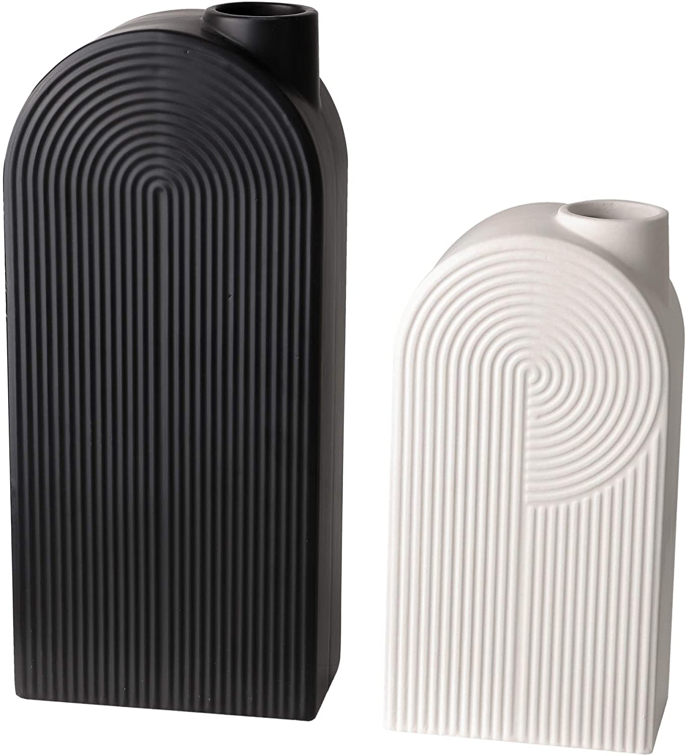 TERESA'S COLLECTIONS Ceramic Modern Vase, Black and White Geometric Decorative Vases for Home Decor, Mantel, Table, Living Room, Office Decoration-Set of 2