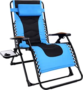 Oversized Zero Gravity Chair, 22.8''W Padded Seat, Adjustable Reclining Angle with Lock, Lounge Patio Chair with Cup Holder, Folding Recliner, Support up to 350lbs (Blue)