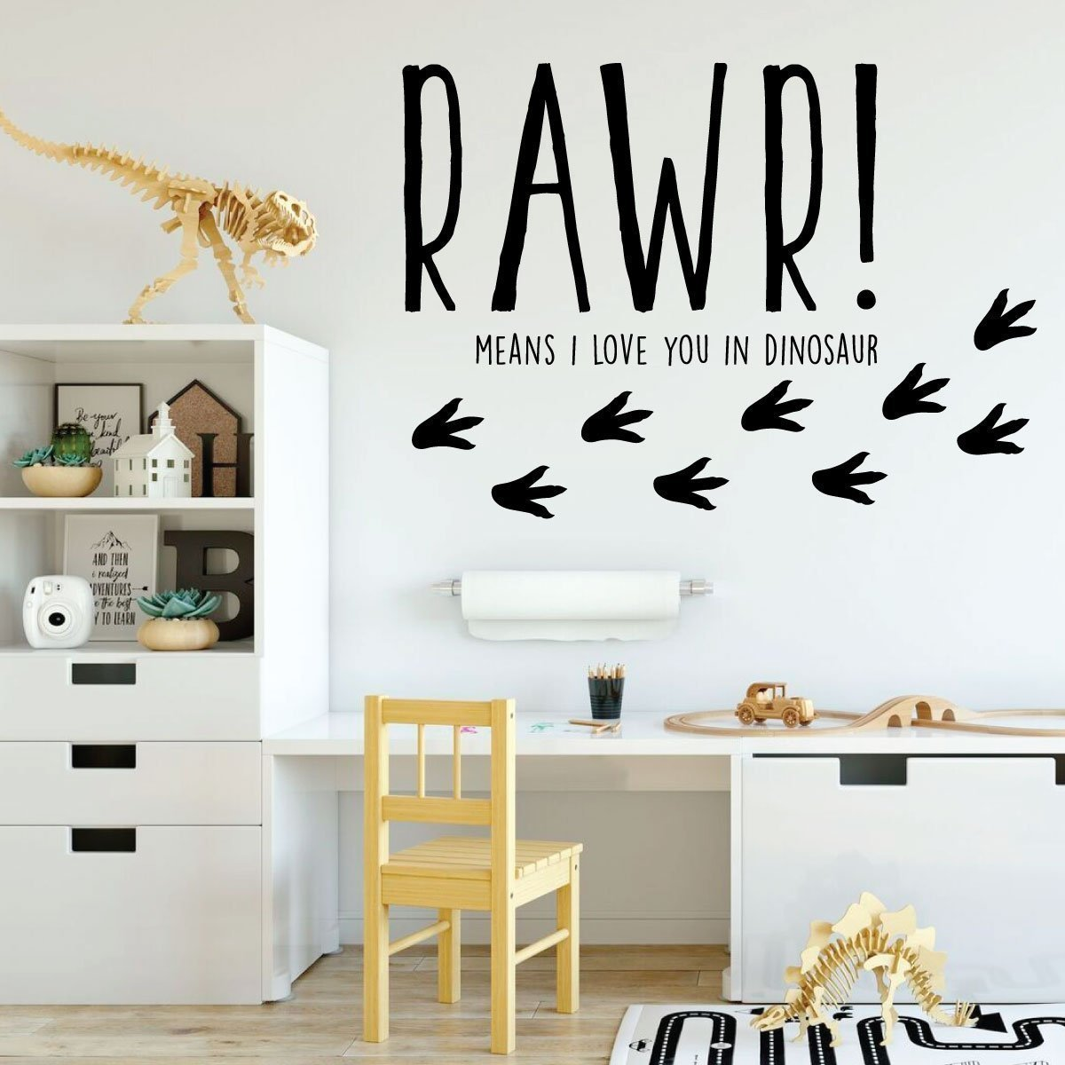 Dinosaur Wall Decal for Kids Room - RAWR! Means I Love You In Dinosaur - Vinyl Sticker for Boy's or Girl's Bedroom - Playroom or Baby Nursery Decoration