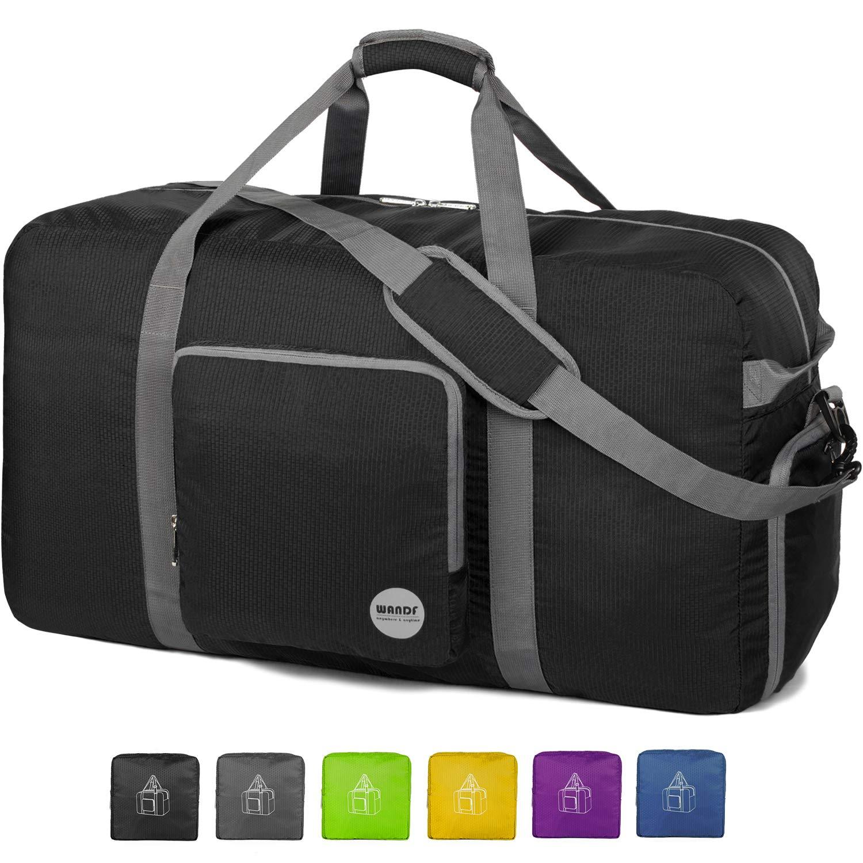 36'' Foldable Duffle Bag 120L for Travel Gym Sports Lightweight Luggage Duffel By WANDF (36 inches (120 Liter), Black 36'') by WANDF