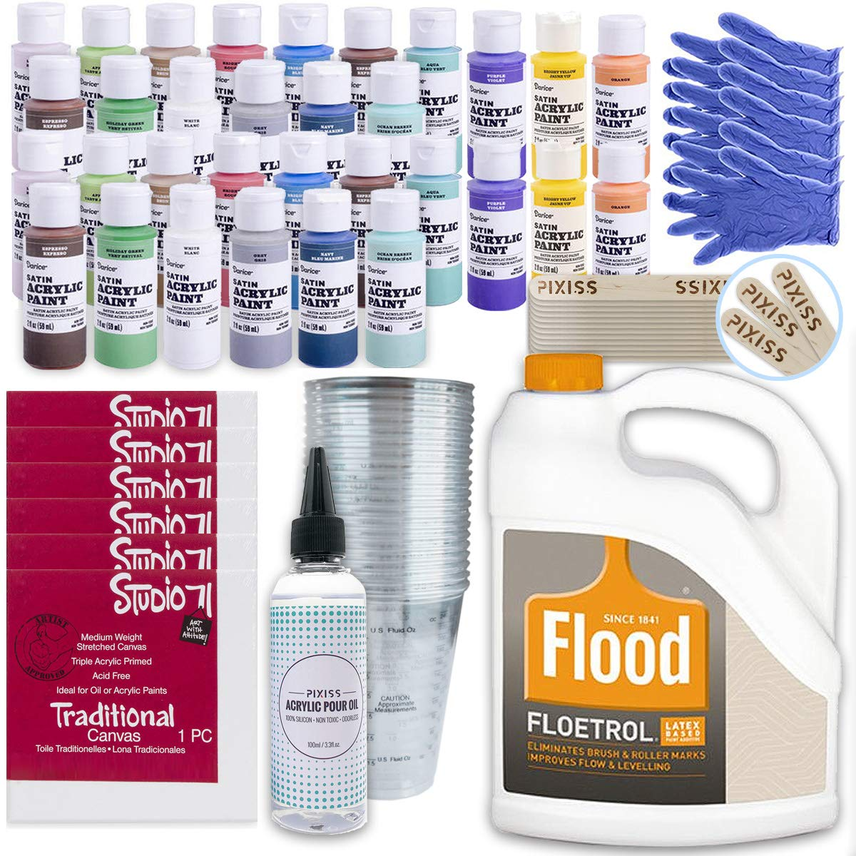 Ultimate Acrylic Paint Pouring Bundle - 1 Gallon Floetrol, 50x Cups, 32x 2-Ounce Acrylic Paints, 5X5-inch Canvases, Pixiss Acrylic Pouring Oil, Mixing Sticks, Gloves, Complete Kit for Paint Pouring