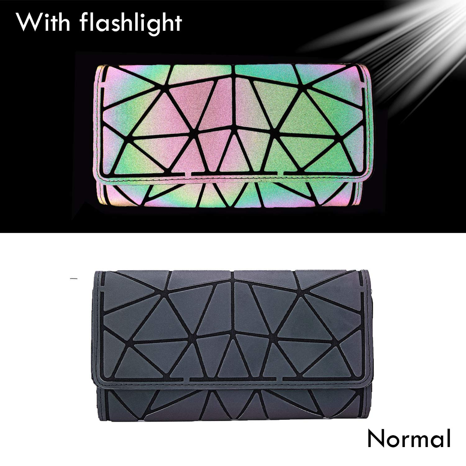 Harlermoon Geometric Luminous Holographic Purses and Handbags Flash Reflactive Tote for Women … (wallet) by Harlermoon (Image #2)