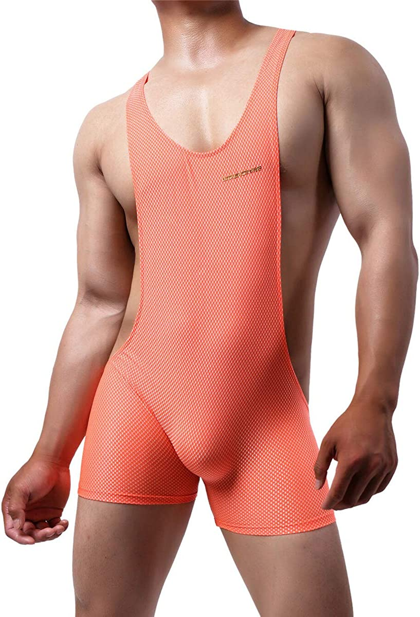 YOOBNG Mens Sports Leotard Bodysuit Jumpsuit Boxers Briefs Wrestling Singlet Bulge Exercise Muscle Bodybuilding