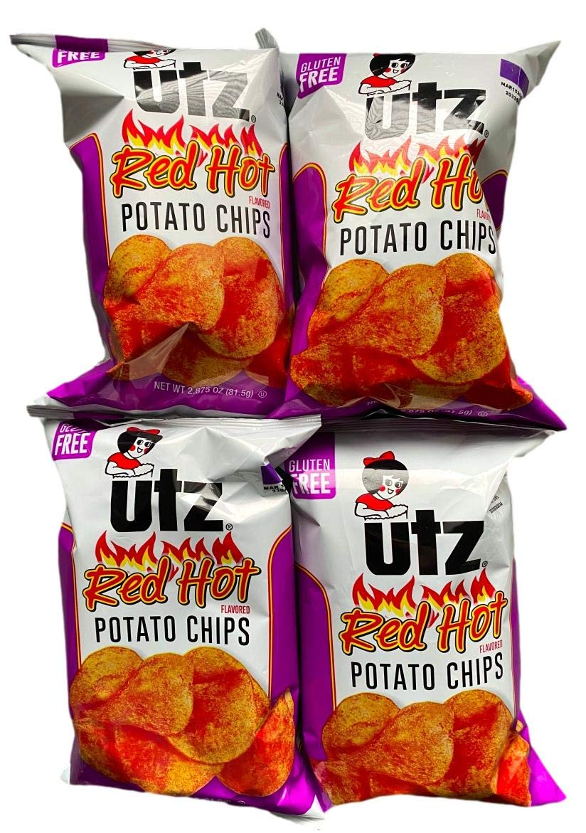 Utz Quality Foods Flavored Potato Chips Red Hot Gluten Free 2.875 oz (Pack of 4)