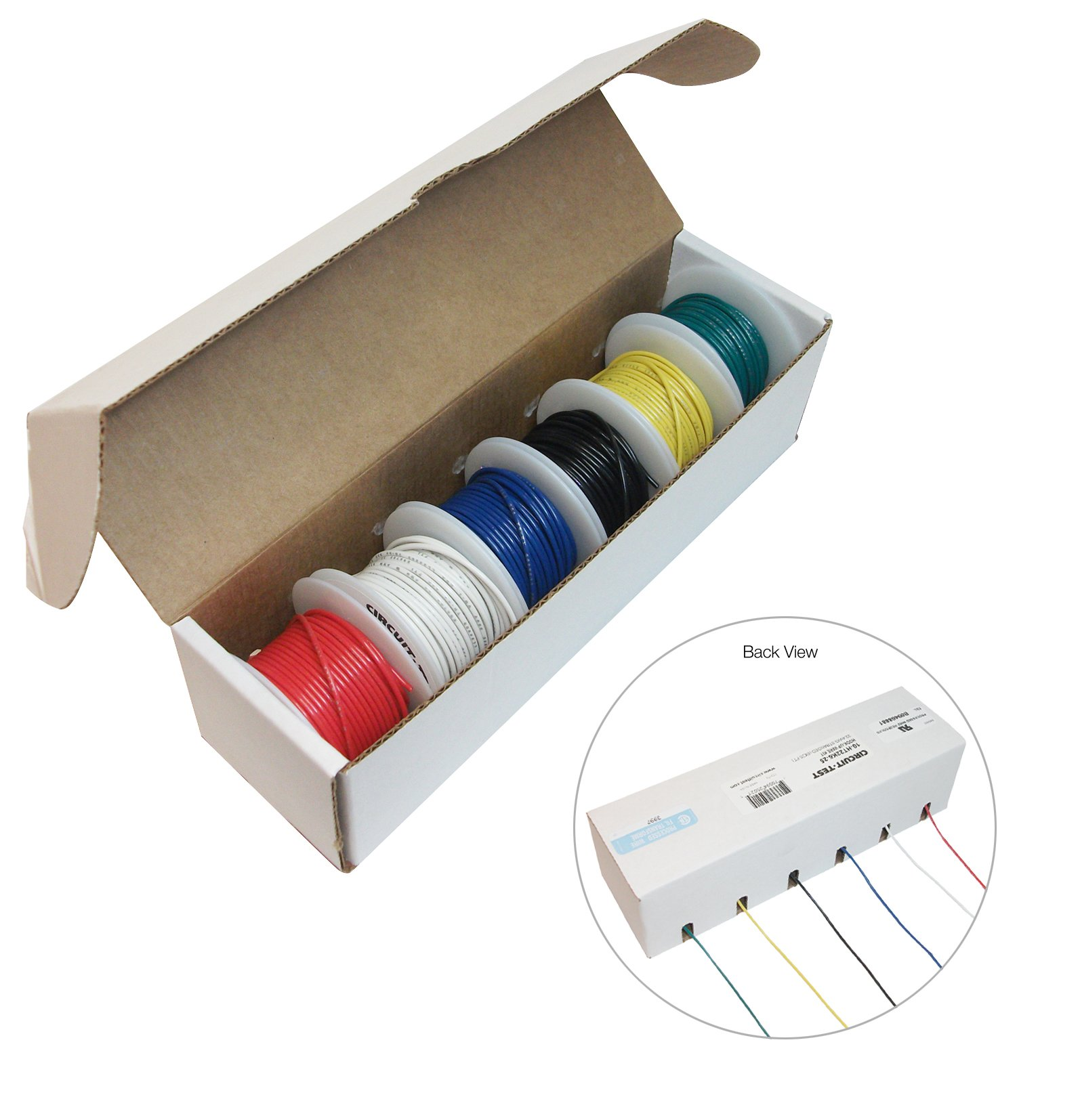 CIRCUIT-TEST 22AWG Stranded Hook Up Wire Kit - 6 x 25 Foot Rolls - Assorted Colors (10-HT22K6-25) by Circuit-Test