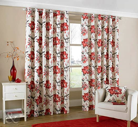 Marvelous Just Contempo Oriental Floral Eyelet Lined Curtains, Red, 46x54 Inches