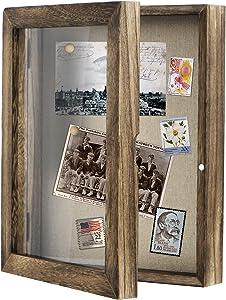Love-KANKEI Shadow Box Frame 8x10 Shadow Box Display Case with Linen Back Memorabilia Awards Medals Photos Memory Box