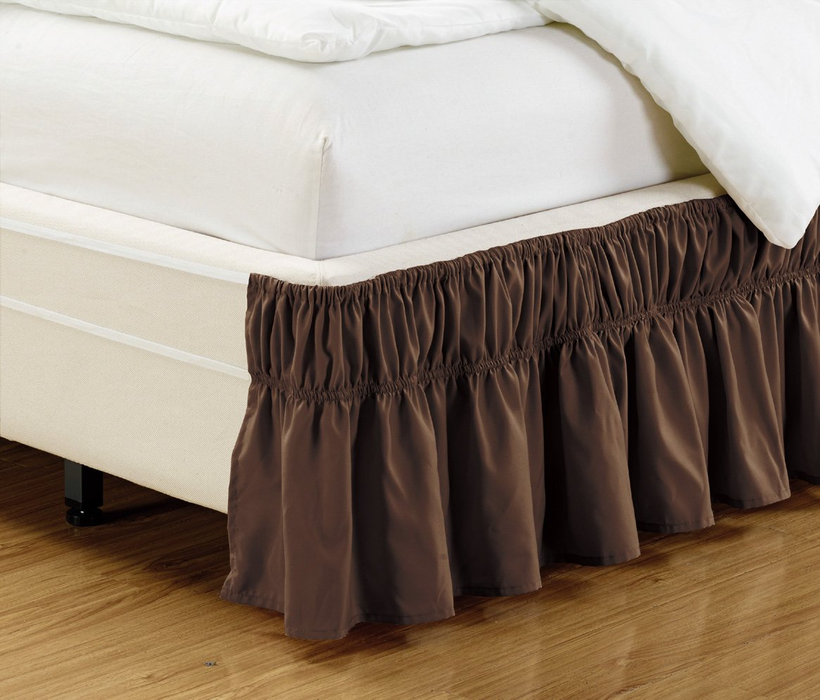 Wrap Around DARK BROWN Ruffled Elastic Solid Bed Skirt Fits both QUEEN, KING and CAL KING size bedding High Thread Count 14 inch fall Microfiber Dust Ruffle, Silky Soft & Wrinkle Free.