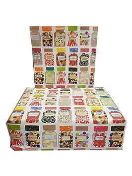 Papel de regalo - diseño de tarro de dulces (4 hojas por paquete): Amazon.es: Oficina y papelería
