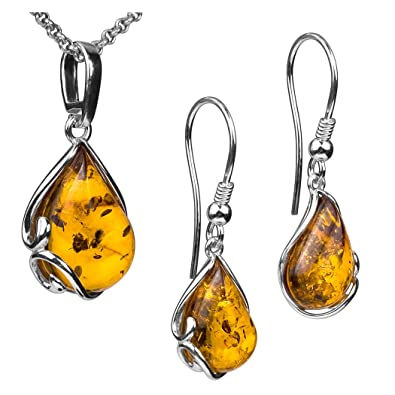 Green Amber Sterling Silver Drop Pendant Earrings Set Rolo Chain 46cm