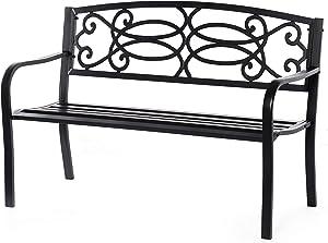 Gardenised QI003772 Backrest Garden Lawn Decor Black Outdoor Steel Park Bench Cast Iron Scrollwork