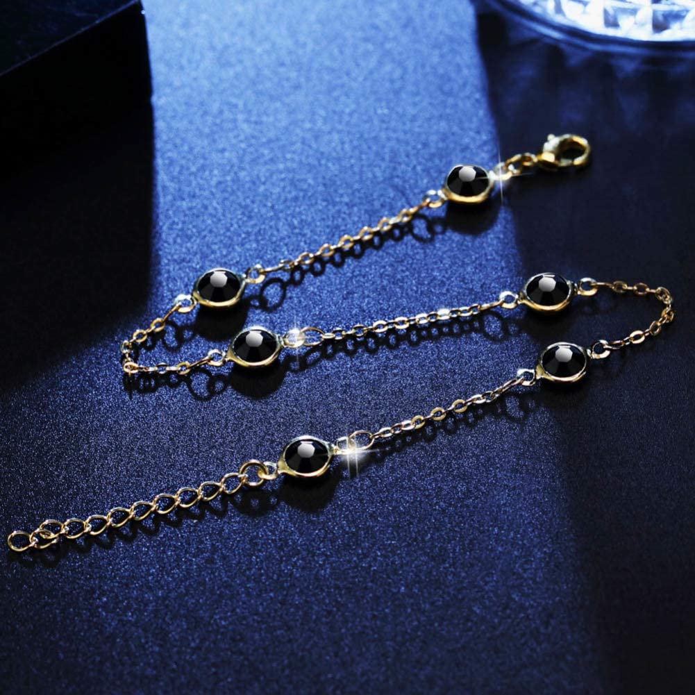 Afco Fashion Women Round Bead Faux Crystal Chain Anklet Party Club Holiday Jewelry for Summer Beach