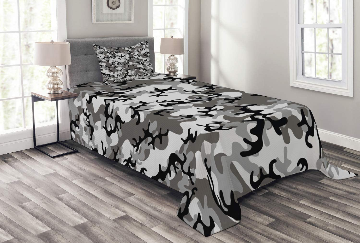Ambesonne Camo Bedspread Camouflage Concept Concealment Artifice Hiding Force Uniform Pattern Fashion Decorative Quilted 2 Piece Coverlet Set With Pillow Sham Twin Size Grey Black Home Kitchen