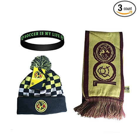4b0ac9ff7bd1e Amazon.com   Club America Aguilas Mexico Soccer Set Beanie Skull Cap Hat  and Scarf Reversible + Silicone Wristband Set 3 Pcs amer002   Sports    Outdoors