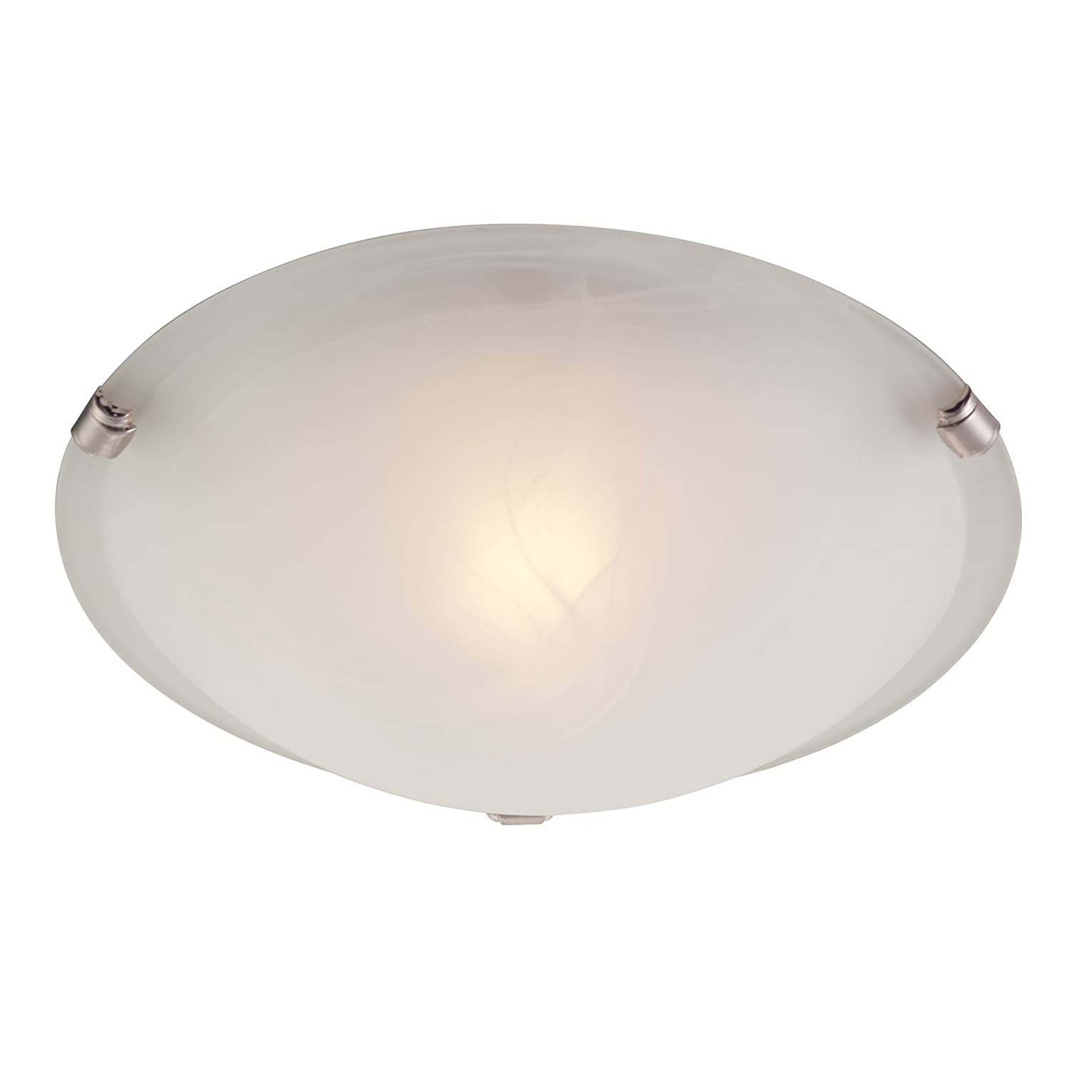 Westinghouse 6629700 One Light Interior Flush Mount Ceiling Fixture, White  And Brushed Nickel Finish With White Alabaster Glass   Ceiling Pendant  Fixtures ...