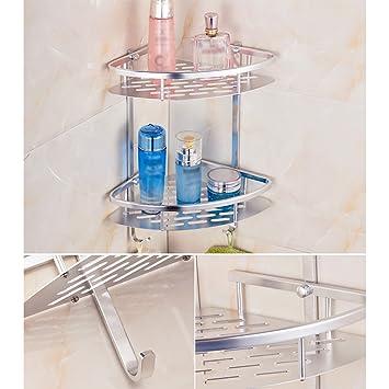 Kvolity Aluminiumlegierung Badezimmer Dusche 2 Tier Wandregal Korb