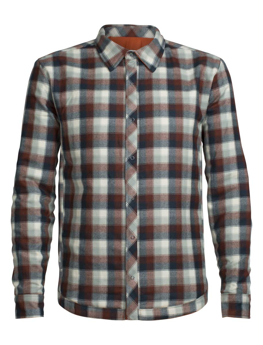 Icebreaker Merino Men's Helix Long Sleeve Shirt, Copper/Saddle Plaid, Medium