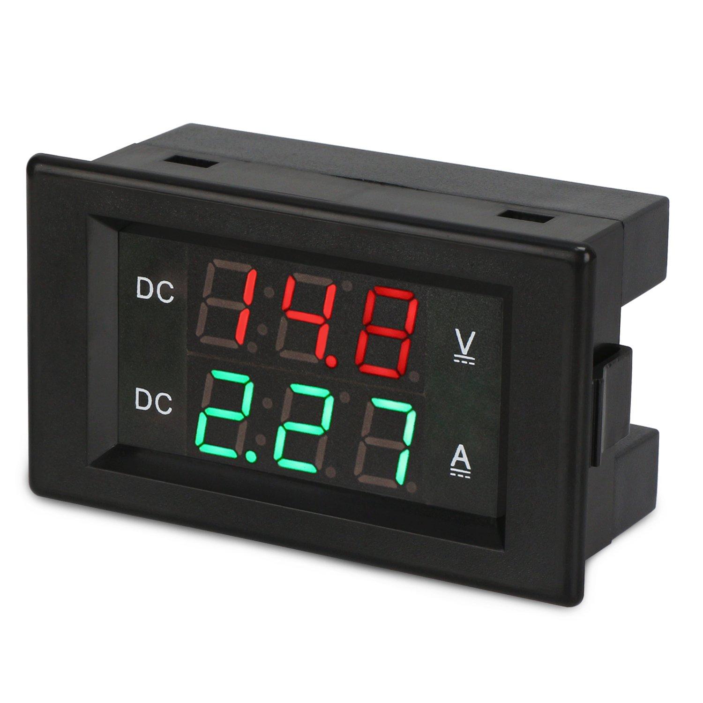 DROK DC 4 5-100V 0-20A Volt Amp Digital Multimeter, Three-Digit Ammeter  Voltmeter, DC Voltage Current Meter Tester Gauge with Red & Green Dual