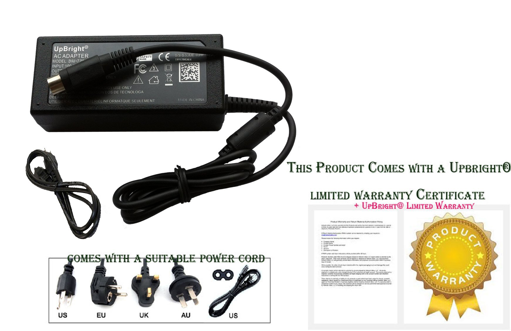 UpBright NEW Global 24V 3-Pin DIN AC / DC Adapter For Touch Dynamic Breeze BR-PRINTERBASE & PR-T25S T25 POS Base Thermal Receipt Printer 24VDC Power Supply Cord Cable PS Charger Mains PSU