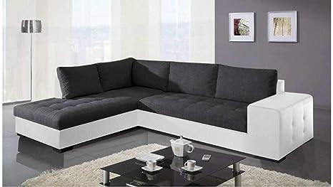 Divano Nero E Bianco : Justhome paris divano angolare divano letto finta pelle in tessuto