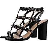 AMY.Q Women Sandals Matte Gold Stud Peep Toe Chunky High Heel Gladiator Sandals