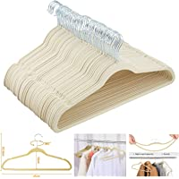 2you Ivory Velvet Hangers Pack - Set of 50 - Non-Slip Storage 360 Thin Flocked For Wardrobe Clothes Trousers Adults