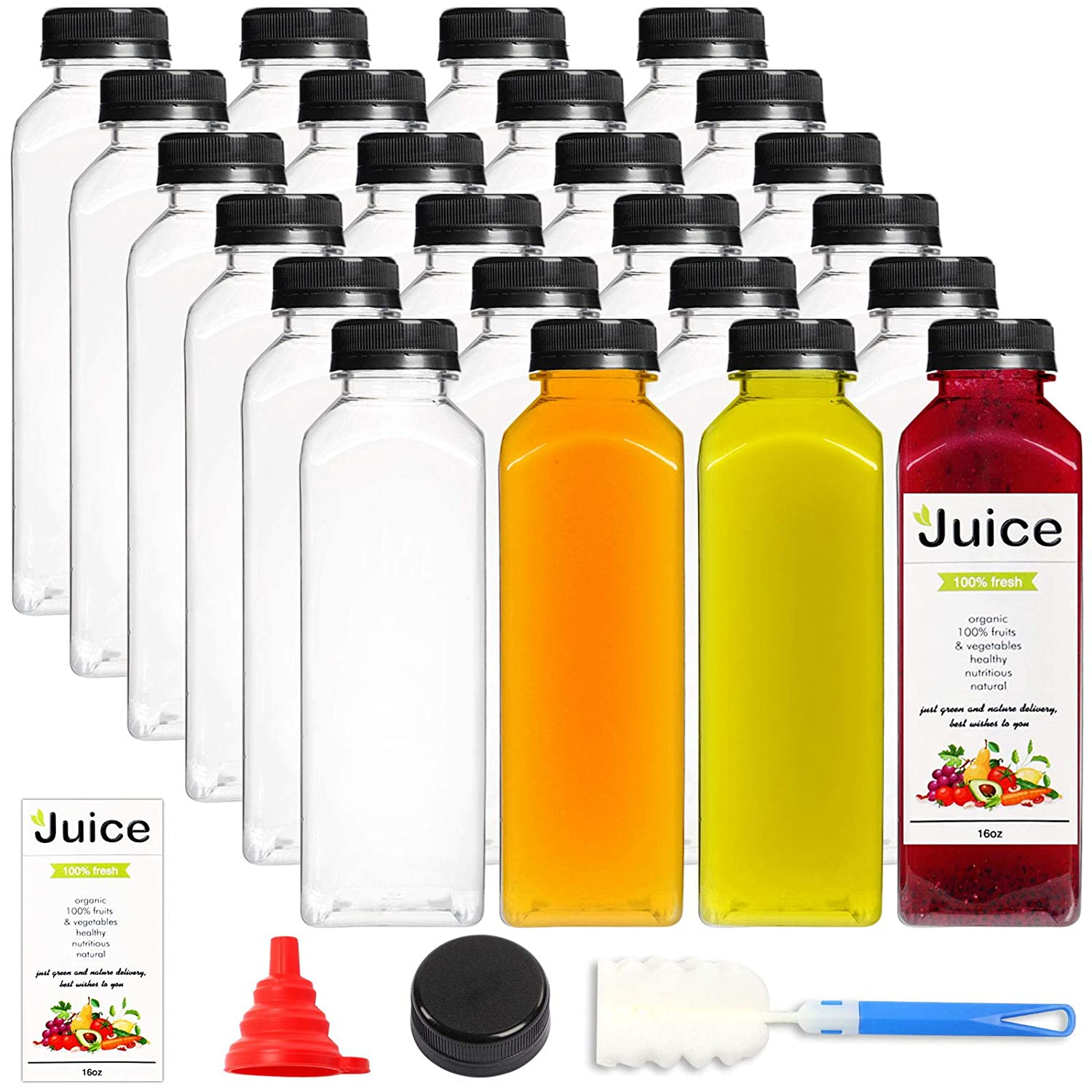 24pcs 16oz Empty Plastic Juice Bottles with Caps, Reusable Clear Bulk Beverage Containers for Juice, Milk and Other Beverages