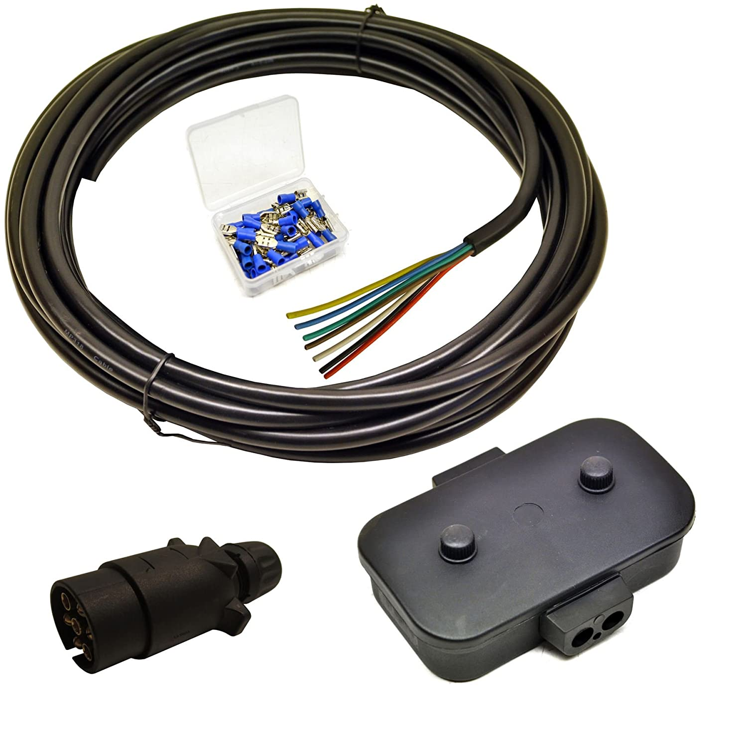 Amazon.com: Trailer Light Electrics Rewire Kit Plug, Junction Box, 5m Cable  / Wire Terminals: Automotive