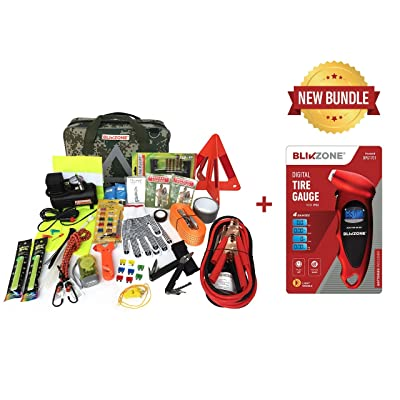 BLIKZONE Auto Roadside Assistance Car Kit Camo Bundled 82Pc Accessories Vehicle Emergency: Portable Air Compressor, Jumper Cables, Digital Tire Pressure Gauge and Essential Tools for Roadtrips: Automotive